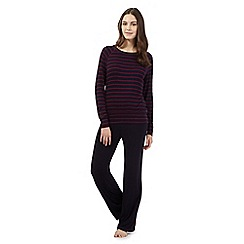 J by Jasper Conran - Navy striped pyjama top and bottoms set