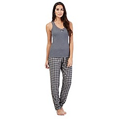 J by Jasper Conran - Grey ribbed vest top and checked bottoms pyjama set