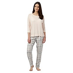 J by Jasper Conran - Petite peach checked pyjama top and bottoms set