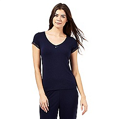J by Jasper Conran - Tall navy lace trim pyjama top