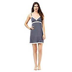 J by Jasper Conran - Navy diamond print lace trim chemise