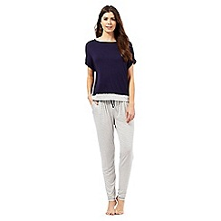 J by Jasper Conran - Navy mock layered pyjama top and striped print bottoms set