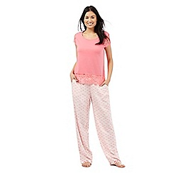 RJR.John Rocha - Pink print and lace pyjama set