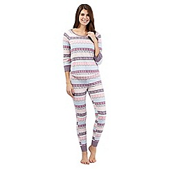 Floozie by Frost French - Pink Fair Isle pyjama top and bottoms set