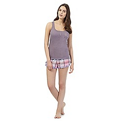 Floozie by Frost French - Purple checked pyjama vest and bottoms set
