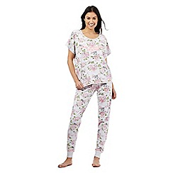 Iris & Edie - Pink 'Wake up smelling of roses' slogan print floral pyjama set