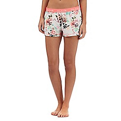Iris & Edie - Multi-coloured floral striped print pyjama shorts