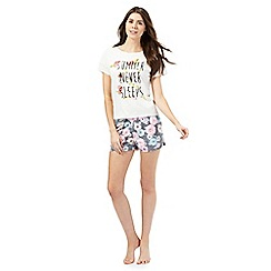 Iris & Edie - Grey 'Summer never sleeps' slogan print top and shorts set