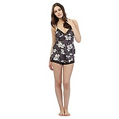 Presence - Dark grey floral lace pyjama cami and shorts set