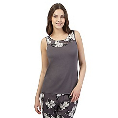 Presence - Dark grey floral jersey pyjama vest