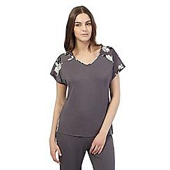Presence - Dark grey floral jersey pyjama top