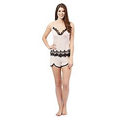 The Collection - Peach lace trimmed cami and shorts set