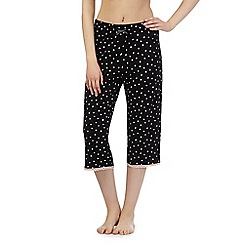 Lounge & Sleep - Black heart cropped pyjama bottoms