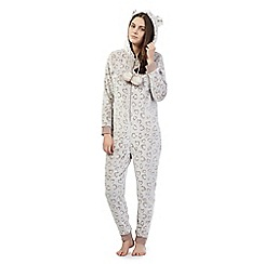 Lounge & Sleep - Grey leopard print onesie