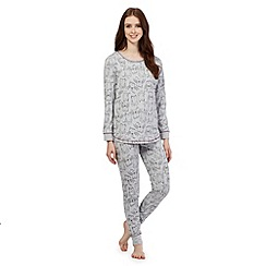 Lounge & Sleep - Grey owl pyjama top and bottoms set