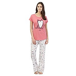 Lounge & Sleep - Pink owl pyjama top and bottoms set