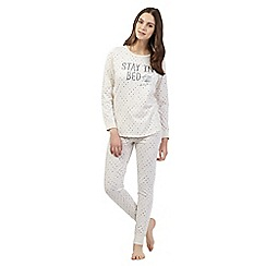 Lounge & Sleep - Cream 'Stay in Bed' pyjama top and bottoms set