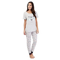 Lounge & Sleep - Grey textured racoon t-shirt and bottoms pyjama set