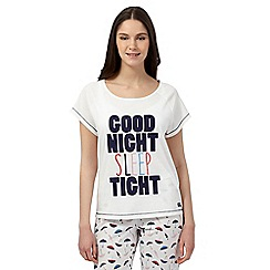 Lounge & Sleep - White slogan pyjama top