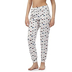 Lounge & Sleep - White umbrella print cuffed pyjama bottoms