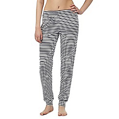 Lounge & Sleep - Navy striped cuffed long bottoms