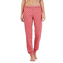 Lounge & Sleep - Peach polka dot cuffed pyjama bottoms