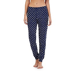Lounge & Sleep - Navy polka dot cuffed pyjama bottoms