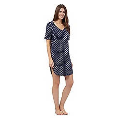 Lounge & Sleep - Navy polka dot long night shirt