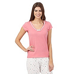 Lounge & Sleep - Pink lace trim neck pyjama top