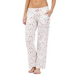 Lounge & Sleep - Pink long butterfly print pyjama bottoms