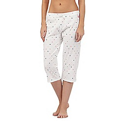 Lounge & Sleep - Off white spot print crop pyjama bottoms