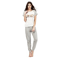 Lounge & Sleep - Petite white 'Perfect' floral print top and grey striped pyjama set