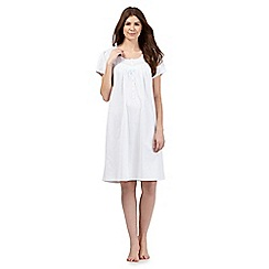 Lounge & Sleep - White striped print broderie trim long night dress