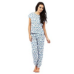 Lounge & Sleep - Blue floral print pyjama top and bottoms