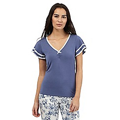 Lounge & Sleep - Blue plain short sleeved top