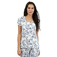 Lounge & Sleep - Blue floral print short sleeved top