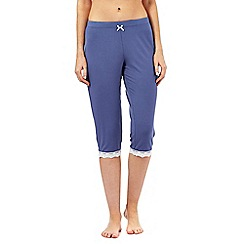 Lounge & Sleep - Tall blue cropped lace trim pyjama bottoms