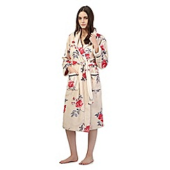 Lounge & Sleep - Cream floral dressing gown