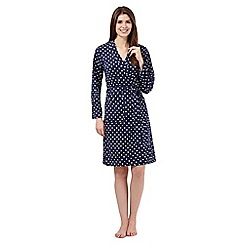 Lounge & Sleep - Navy polka dot dressing gown