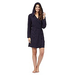 Lounge & Sleep - Navy textured polka dot hooded dressing gown