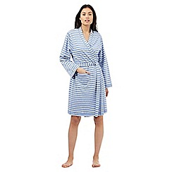 Lounge & Sleep - Pale blue striped loopback dressing gown