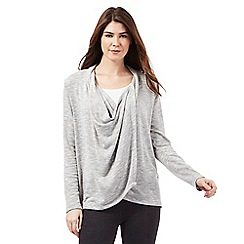The Collection - Grey knitted waterfall wrap