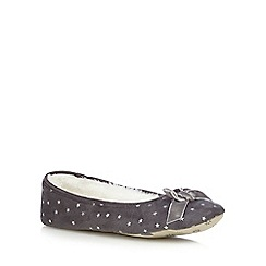 Lounge & Sleep - Grey star print ballet slippers