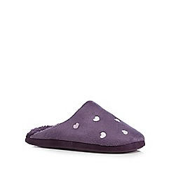 Lounge & Sleep - Purple heart embroidered mule slippers
