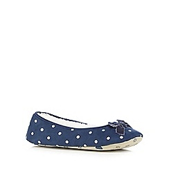 Lounge & Sleep - Navy spot print ballet slippers