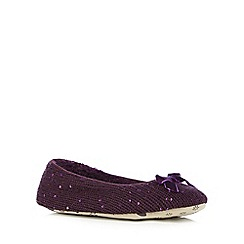 Lounge & Sleep - Purple sequin knit ballet slippers