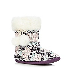 RJR.John Rocha - Purple geometric knitted slipper boots