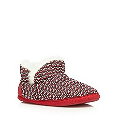 Iris & Edie - Red knitted slipper boots