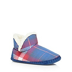 Iris & Edie - Blue checked slipper boots