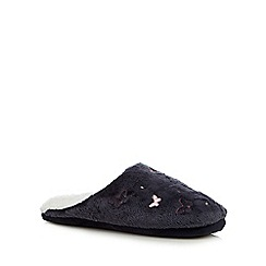 Lounge & Sleep - Navy butterfly embroidered mule slippers